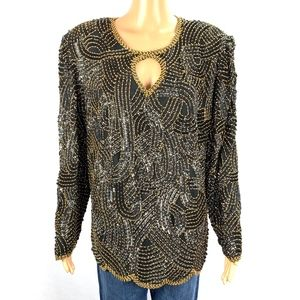 Royal Feelings Silk Beaded Holiday Party Blouse 1X
